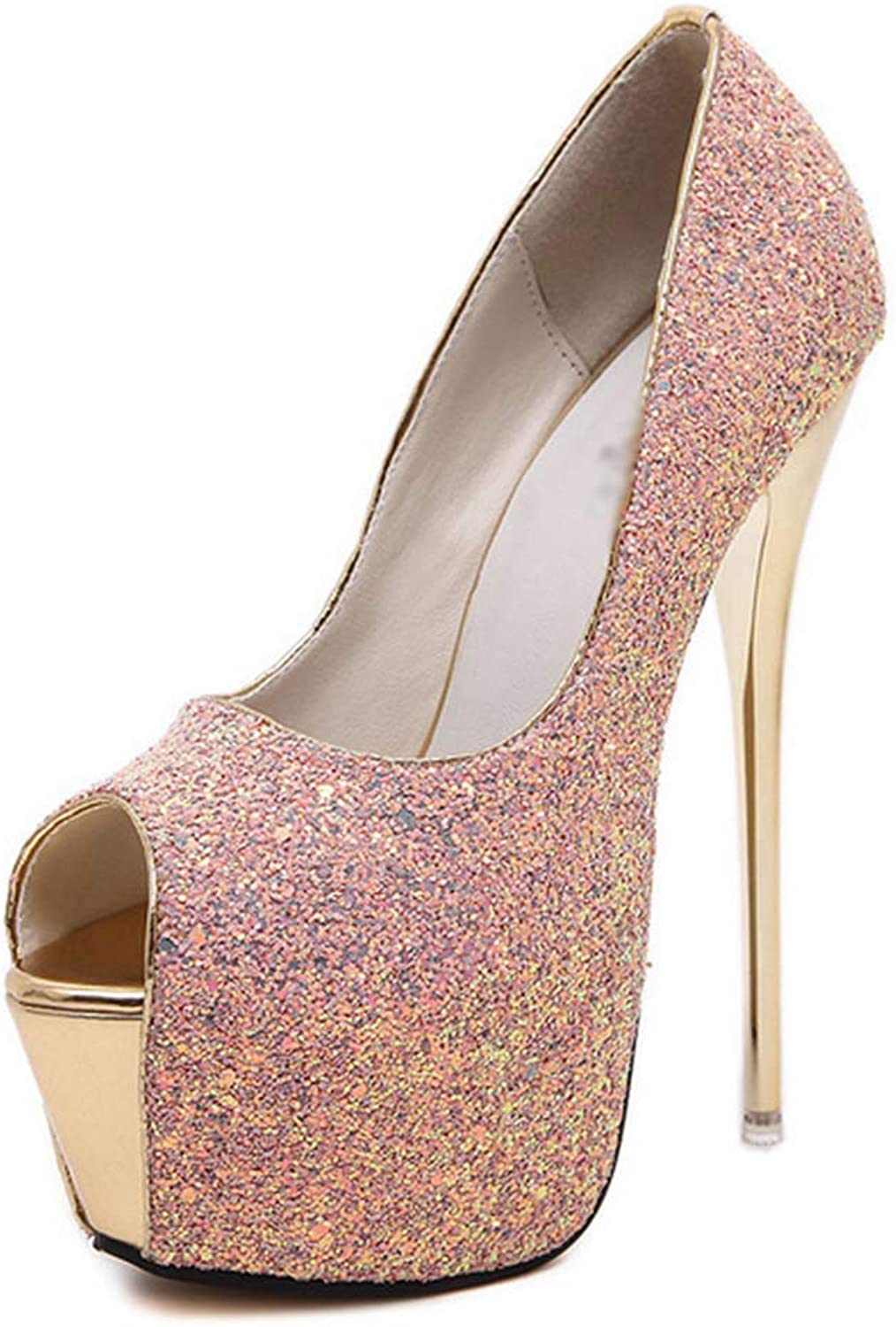 Phil Betty Women's Pumps,Sexy Sequin Fish Mouth Super High Heel White Pink Platform shoes