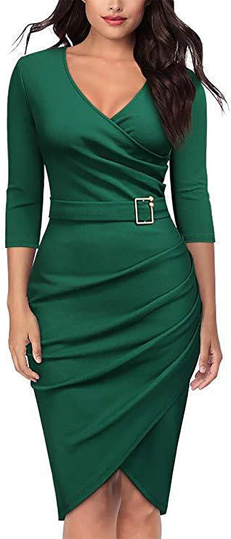Women's Deep V-Neck Solid Color Long-Sleeved Dresses Slim Fit Hip Fashion Irregular Evening Dress