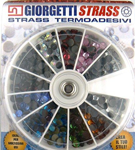 Strass termoadhesivos SS20 5 mm 288 unidades rueda 11 colores adhesivos cristales...