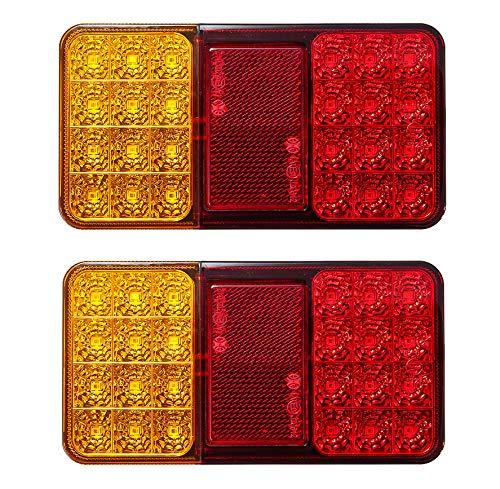 24 LED Rücklicht Bremslicht Universal Rücklicht Wasserdicht Rücklichter 12V Universal Bremslicht Warnlicht für Anhänger Wohnmobil Van LKW Traktor Anhänger 2 Stück