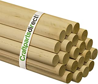 1 Inch x 48 Inch Wooden Dowel Rods - Unfinished Hardwood Dowels For Crafts & Woodworking - By Craftparts Direct - Bag of 5