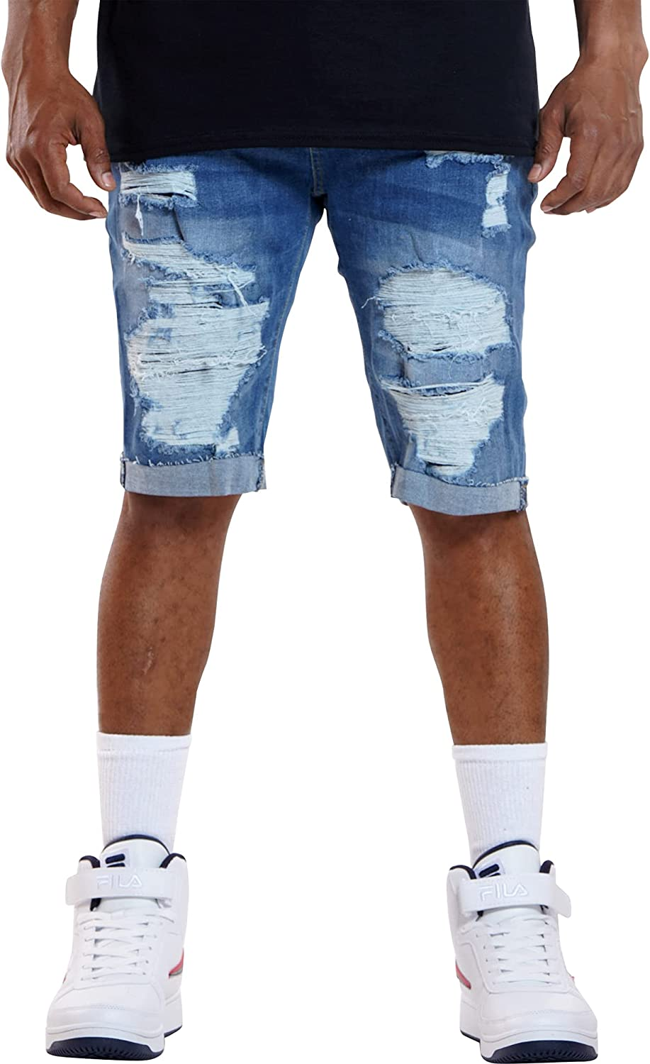 XRAY JEANS Men's Ripped & Repair Patches Short - Light Blue