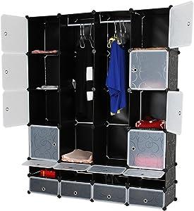 Miadomodo Armario DIY | portátil, 18-Cube, Negro | Organizador de Almacenamiento Modular, Cubo Box