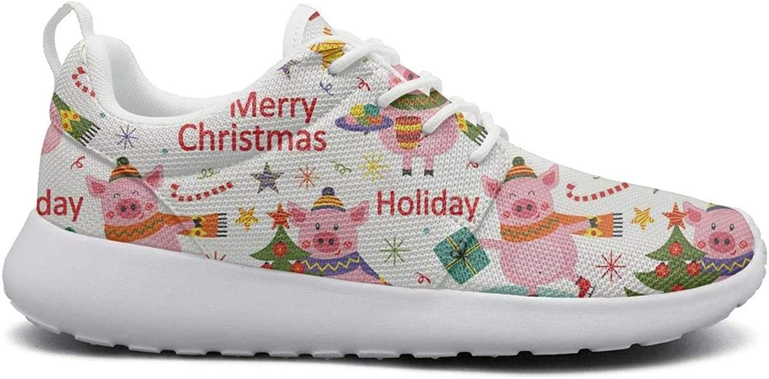Gjsonmv Happy New Year of The Pig mesh Lightweight shoes for Women Comfortable Sports Athletic Sneakers shoes