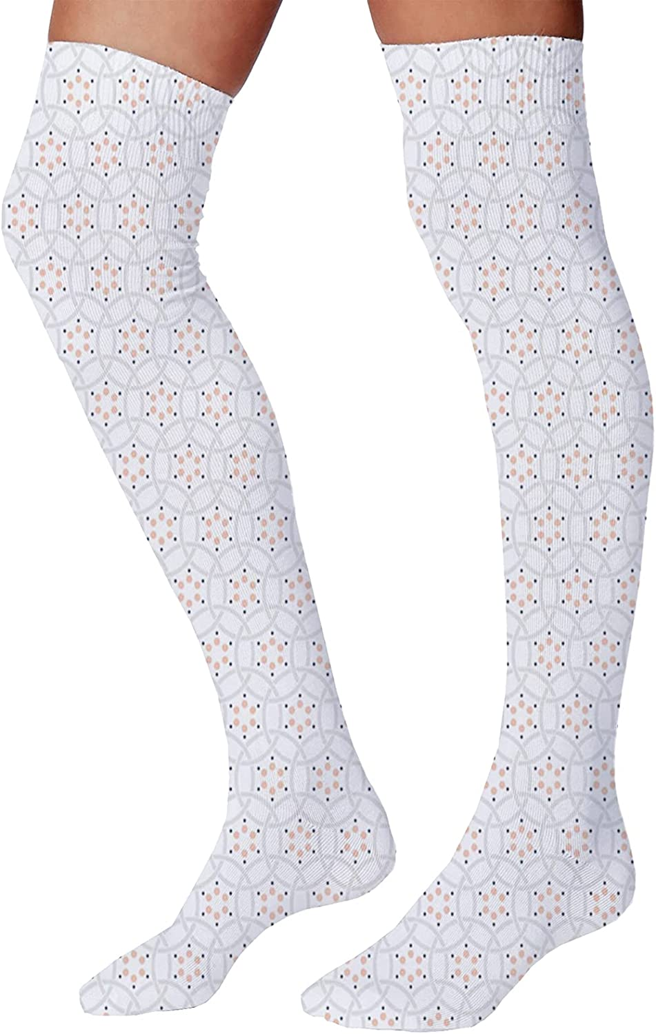 Men's and Women's Fun Socks,Abstract Pastel Pattern with Overlapping Chaotic Spots and Ring Shapes