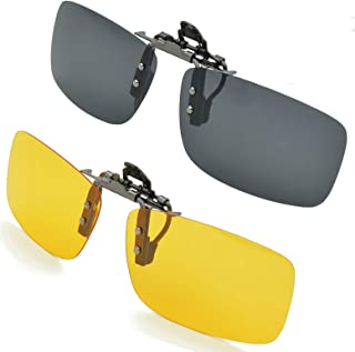 SPLAKS Clip on Sunglasses Polarized Sunglasses, 2 Pack Driving Flip Up Polarized Sunglasses Unisex Outdoors Frameless Rectangle Lenses (Yellow Night Driving Glass and Black Sunglasses)