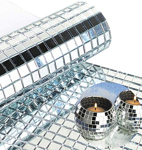 WDragon 2400 Stück Echtglas Silber Spiegel Mosaik Fliesen Aufkleber für Handwerk quadratische Glasfliesen selbstklebend, 5 x 5 mm