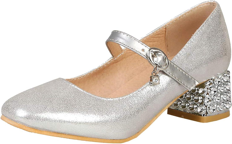 Artfaerie Womens Glitter Mary Janes Mid Block Heel Pumps Sequin Wedding Bridal Comfortable Court shoes