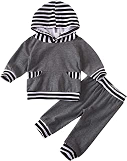 Newborn Baby Boys Outfits Pocket Button Hoodie Tops Stripe Pants Toddler Infant Clothes Set