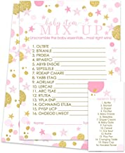 Pink and Gold Baby Shower Word Scramble Game (25 Pack)