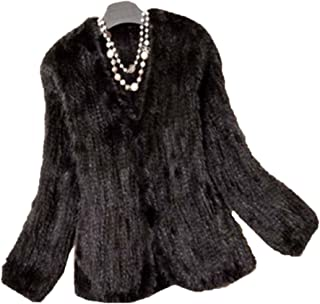 YR Lover Women's Warm Long Sleeves Knitted Natural Mink Fur Coat Jacket