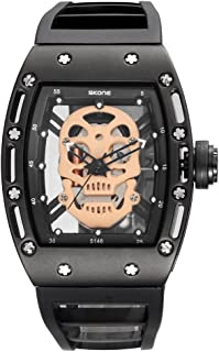 Unique Skull Watches for Men, Cool Skeleton Quartz Wristwatch, Rectangle Mens Black Gifts Watches