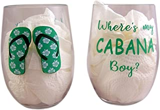 Where's My Cabana Boy Plastic Stemless Wine Glasses, Set of 2, 20 Ounces