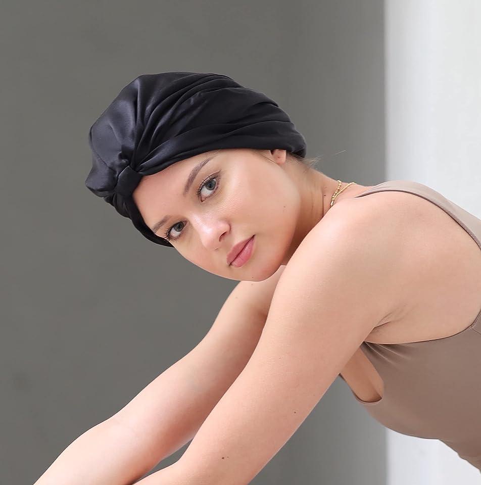 22momme Pure Silk Hair Sleep Wrap, Sleep Cap/ Bonnet. Mulberry Silk Hair Turban (Classic Black)
