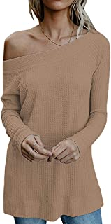 SimpleFun Womens Off Shoulder Tops Casual Oversized Long Sleeve Knit Pullovers Sweaters Tunic Tops