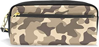 ALAZA Brown Camouflage Pencil Case Zipper PU Leather Pen Bag Cosmetic Makeup Bag Pen Stationery Pouch Bag Large Capacity