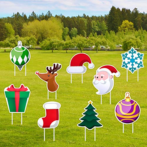 Iceyyyy 9 PCS Christmas Yard Signs with Stakes - Christmas Lawn Yard Decorations Signs Xmas Holiday Winter Yard Sign for Christmas Holiday Lawn Yard Outdoor Decorations
