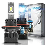 TECHMAX Mini H13 LED Headlight Bulbs,60W 10000Lm 4700Lux 6500K Cool White Extremely Bright 30mm Heatsink Base CREE Chips 9008 Hi/Lo Conversion Kit(of 2)