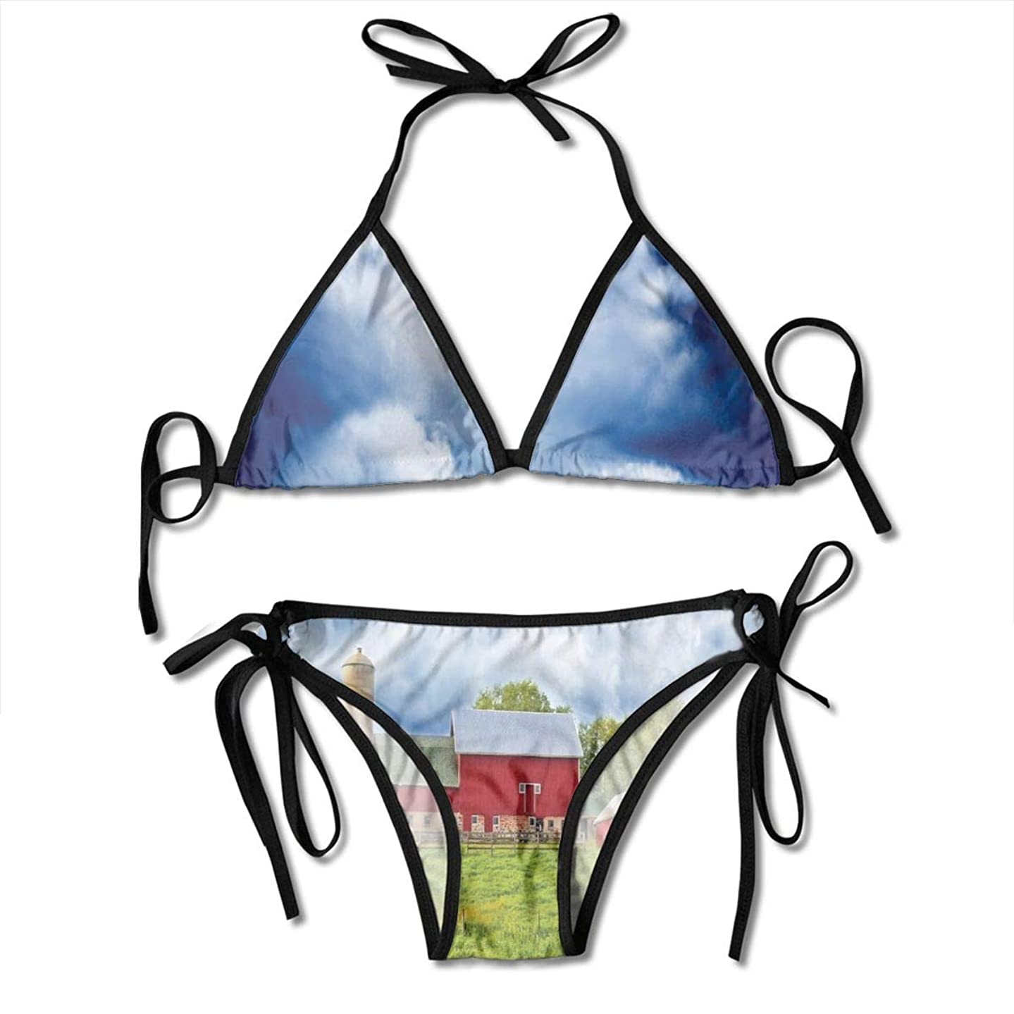 Women's Bikini Set,Festive Celebration Pattern with Vertical Borders Pink Blue Floral Circles,Two Pieces Swimsuit