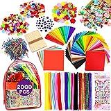 iZoeL 2000pcs Pipe Cleaners Crafts Kit, Enfants Loisirs créatifs Activites manuelles, Tissu Feutre Fil Chenille Pompon Yeux Mobiles Fleurs allumettes Popsicle Sac Rangement Bricolage Projets