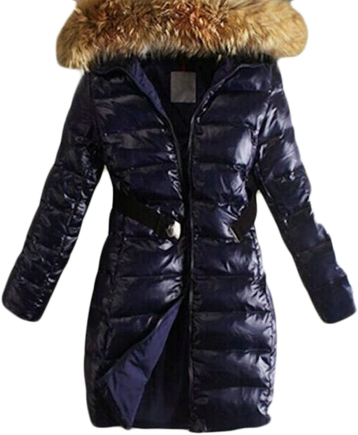 Cromoncent Womens Warm Puffer Quilted Faux Fur Hooded Outwear Parka Coat