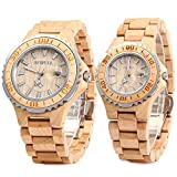 Bewell ZS-100B Couple Watch Quartz Movement Wooden Watches His and Hers Handmade Lightweight Date Wristwatches