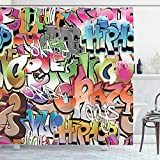 ABAKUHAUS urban Graffiti Duschvorhang, Blockbuster-Tags, mit 12 Ringe Set Wasserdicht Stielvoll Modern Farbfest & Schimmel Resistent, 175x180 cm, Mehrfarbig