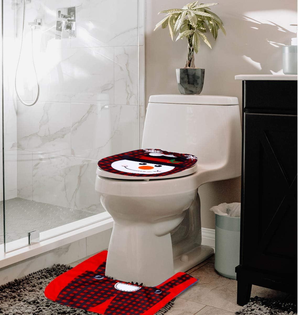 CLISPEED WC in Due Pezzi Set Creativo Festivo Pratico Modello di Alce Natalizio Copriwater Non Tessuto Copriwater per La Decorazione del Bagno di Casa Rosso1