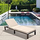 MAGIC UNION Outdoor Chaise Lounge Patio Adjustable Wicker Chaise Lounge with Cushions Pool Chair Lounges Beach Chairs Lounge Chairs for Outside Clearance Tanning Pool Loungers for Yard