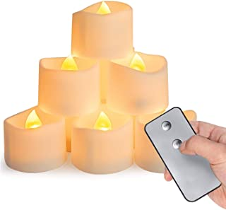 Homemory Remote Control Tea Lights Flickering, Long Lasting Battery Operated LED Candles with Remote, No Timer, for Home D...