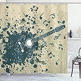 ABAKUHAUS Duschvorhang, Akustikgitarre Sich in Viele Halb & Voll Tone aus Musik Gitarre Muster Blau & Creme Druck, Wasser & Blickdicht aus Stoff mit 12 Ringen Schimmel Resistent, 175 X 200 cm