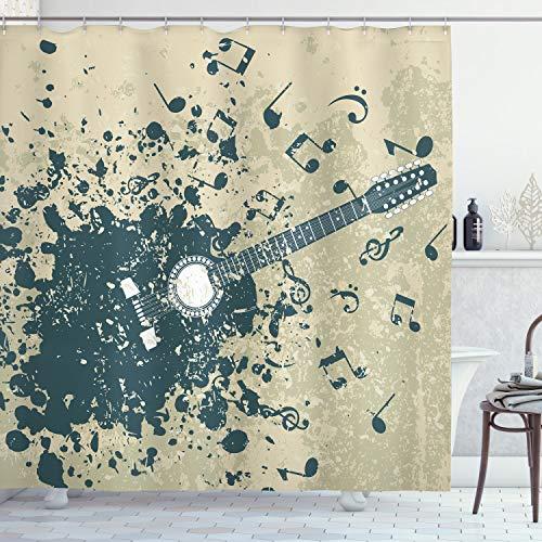 ABAKUHAUS Musik Duschvorhang, Akustische Gitarren-Anmerkungen, mit 12 Ringe Set Wasserdicht Stielvoll Modern Farbfest & Schimmel Resistent, 175x180 cm, Dunkelblau Beige