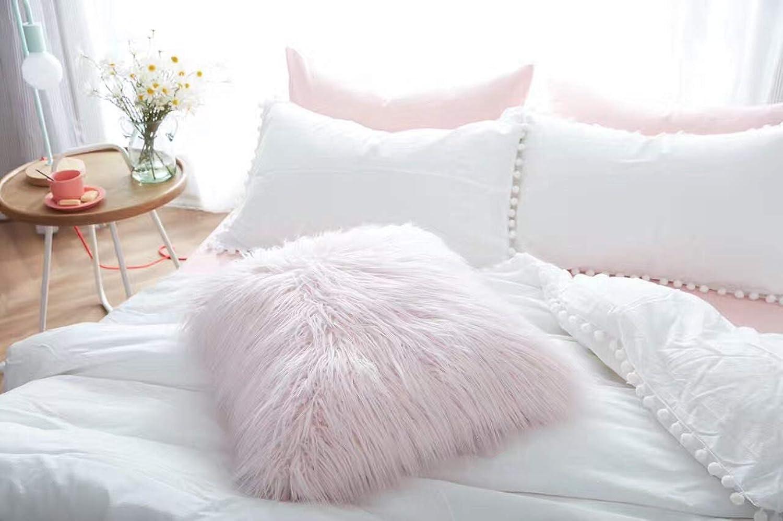 LLIND Home Cushion Pink Fluffy Pillow Sofa car Pillow Sweet Princess Home Decoration Pillow (color   Pink)