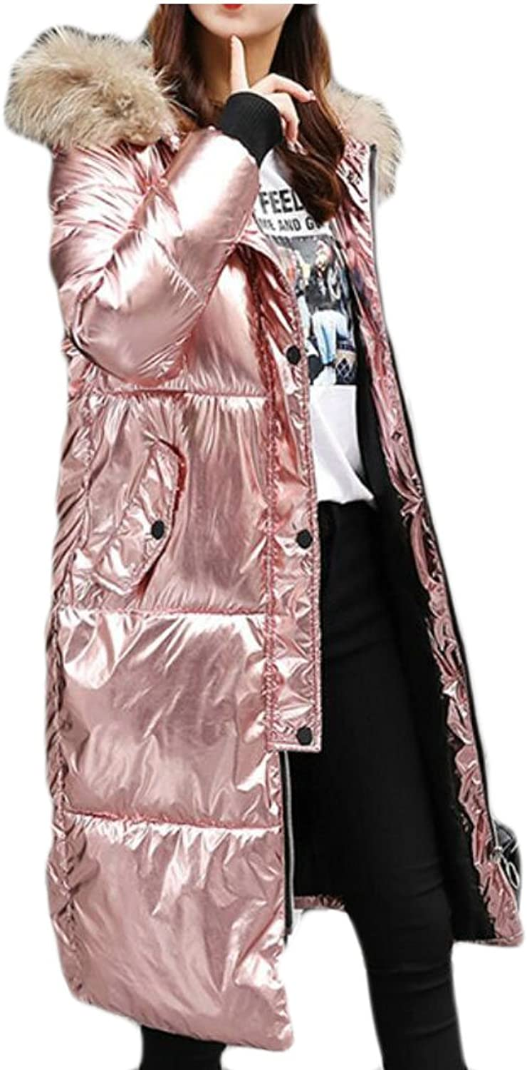 GAGA Women New Solid color Sequin Glitter Faux Fur Hooded Puffer Down Coat