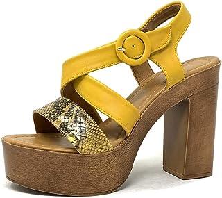 628a59b073e1b6 Angkorly - Chaussure Mode Sandale Sabot Vintage/rétro légère Plateforme  Femme Effet Bois Effet Serpent