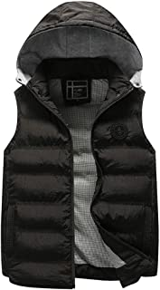 Men's Down Vest,Solid Lightweight Puffer Vest Stand Collar with Removable Hooded Quilted Vest Zip Up Active Gilet Zulmaliu