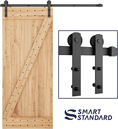 """SMARTSTANDARD 6ft Heavy Duty Sturdy Sliding Barn Door Hardware Kit -Smoothly and Quietly -Easy to Install -Includes Step-by-Step Installation Instruction Fit 36"""" Wide Door Panel (I Shape Hanger)"""