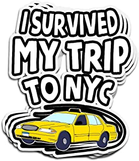 Lucky Star 3 PCs Stickers I Survived My Trip to NYC Funny Yellow Cab Tee 4 × 3 Inch Die-Cut Wall Decals for Laptop Window