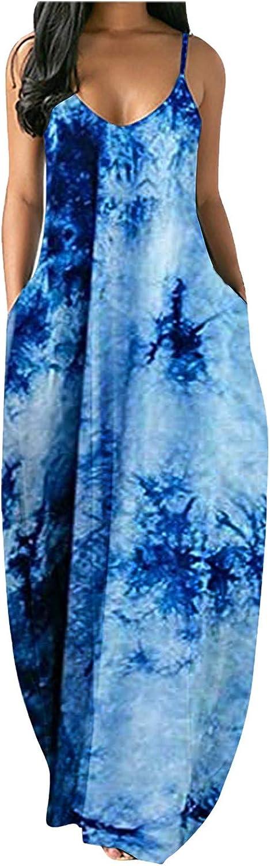 Meichang Dress for Women Casual V Neck Long Skirt Sleeveless Plus Size Sundress Summer Spaghetti Strap Dress