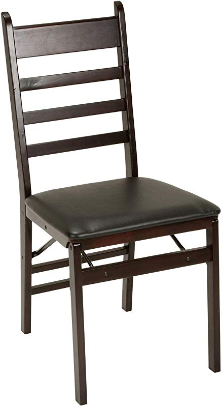 Cosco Espresso Wood Folding Chair With Vinyl Seat Ladder Back 2 Pack