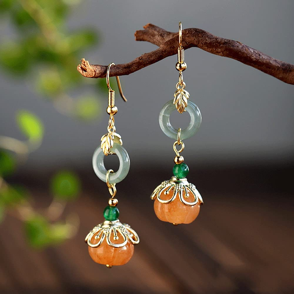 GJFDCP Jade Jade Earrings Chinese Female Earrings Simple Antique Ear Clip Pendants Ethnic Style Jewelry Party Work Collocation Dress Cheongsam Wedding Gift Festival Summer and Autumn
