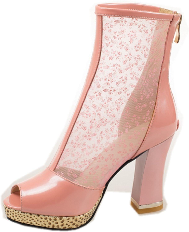 Rongzhi Womens Platform High Heels Block Heels Net Yarn Zip Heeled Sandals Dress Prom Heel shoes Open Toe White
