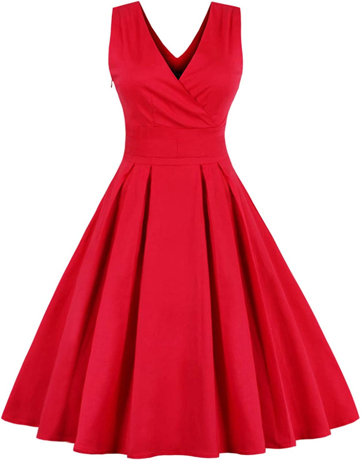 Light bluee Red Pleated Plain Dress Women V Neck Party Dress Summer Dresses