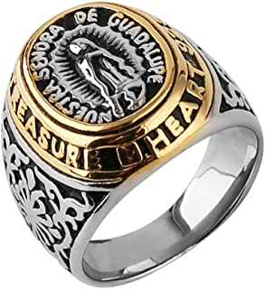 HZMAN Jewelry Men's Blessed Mother Mary - Our Lady of Guadalupe Stainless Steel Ring