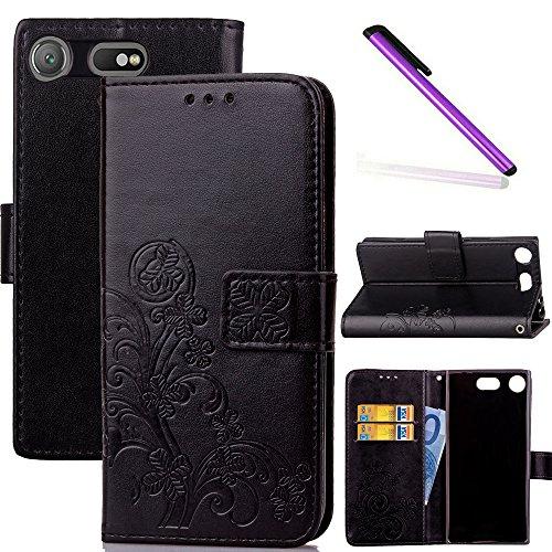 COTDINFOR Sony Xperia XZ1 Compact Funda trébol Cierre Magnético Billetera con Tapa para Tarjetas de Cárcasa Elegante Retro Suave PU Caso Protectora Case para Sony Xperia XZ1 Compact Clover Black SD