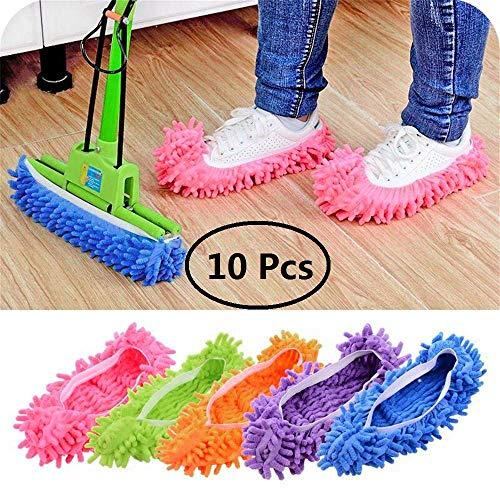 Contever 5 Pack Serpillière Pantoufles Lavable Mop Slippers Chaussures Propres Microfibre Fringe Ustensiles de Nettoyage de Sol Nettoyage pour Toilettes Bureau Cuisine, Multicolore