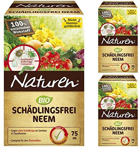 3 x 75 ml Naturen Bio Schädlingsfrei Neem an Gemüse & Zierpflanzen + Zeckenzange mit Lupe