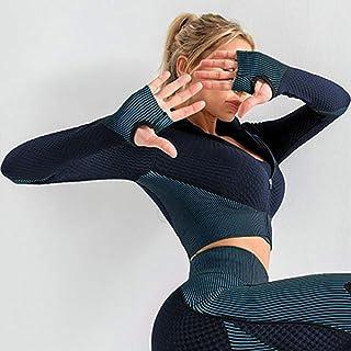 Women Full-zip Crop Jacket Sport Long Sleeves Gloved Workout Running Exercise Gym Jackets Sweatshirt Slim Casual Tops Acti...