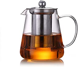 Glass Teapot Infuser with Heat Resistant Stainless Steel Infuser Perfect for Tea and Coffee (450ML)