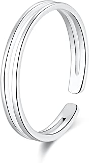 SILBERTALE 925 Sterling Silver Thin Line Minimalist Open Cuff Toe Ring Band Adjustable for Women Girls Size 2-4